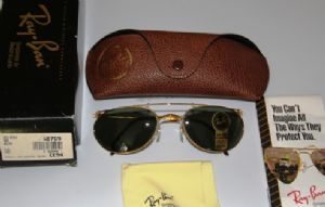 Vintage Ray Ban W1759 Art Deco Metal Wrap in Arista Gold with B-15 Diamond Hard Brown lenses